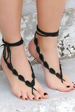 Black Crochet Leaves String Barefoot Sandals
