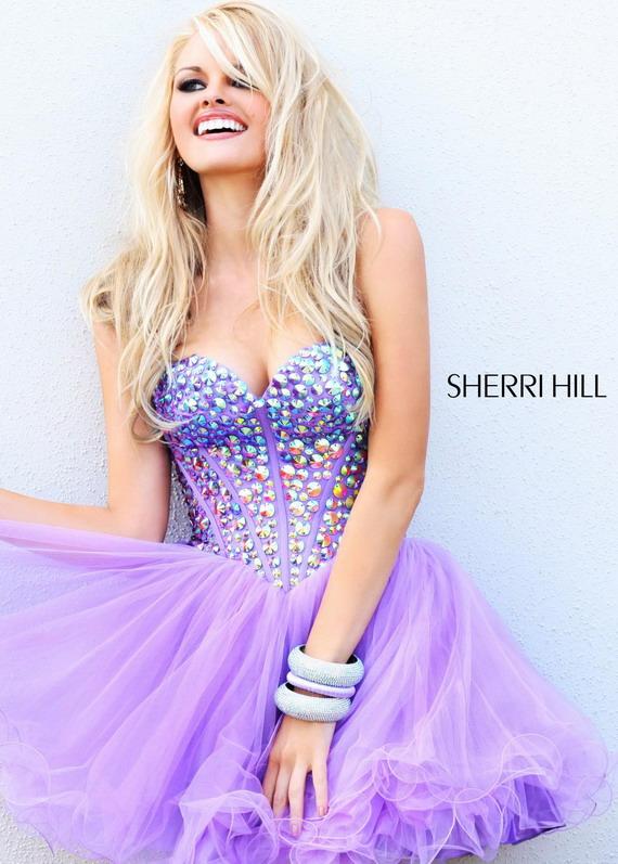 Multi-color Rhinestone Beaded Top Purple Short Prom Dress [Sherri Hill 21101 Purple] – $18 ...