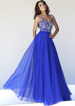 NEW Style Discount Beaded Chiffon Strapless Royal Blue Long Homecoming Dress [Hsd Sherri Hill 85 ...