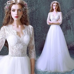 A-Line Luxurious Lace Sexy Deep V-neck Long-sleeved Wedding Dress 2016 New – Wedding Dresses