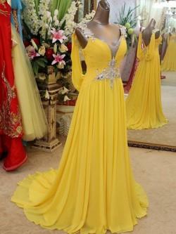 A-line Straps Floor-length Chiffon Dress POWDN14077BN210