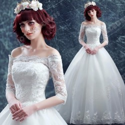 Princess Sexy Lace Strapless Long-sleeved Wedding Dress Floor-Length 2016 New – Cheap Wedd ...