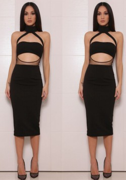 Sexy Black Cutout Top Illusion Fitted Bodycon Club Dress [160204] – $125.00 : Cheap Bandag ...