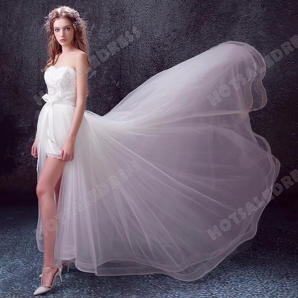 Sweet Lace Sweetheart Sleeveless High Low Long Train Bride Wedding Dress 2016 New – Weddin ...