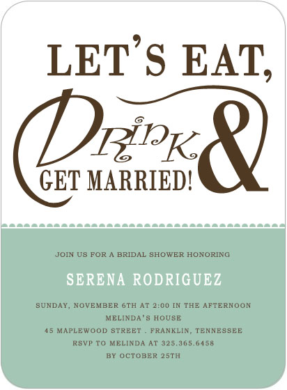 Eat And Drink Bridal Shower Invitation Cards HPB137 [HPB137]