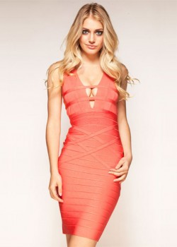 Womens Coral V Neck Striped Hollow Cutout Back Bandage Dress [151232] – $98.00 : Cheap Ban ...