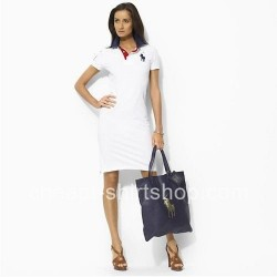 Ralph Lauren Polo White Cotton Dress with Black Big Pony [Ralph Lauren Polo Dresses] – $59 ...