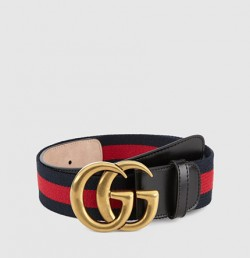 Gucci a signature blue/red/blue nylon web belt with a double g buckle