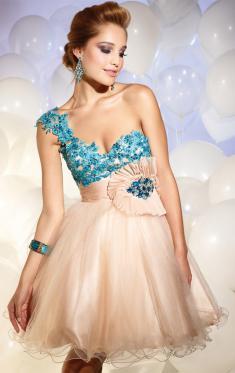 Abendkleider Kurz, Eine Schulter-Rosa-Abend-Kleider Online 2016