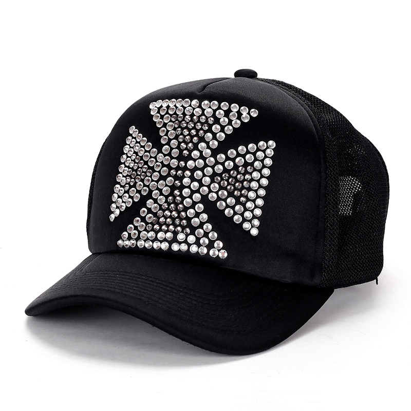 Big Rhinestones Quadrate Cross Chrome Hearts Black Trucker Cap [Chrome Hearts Caps] – $158 ...