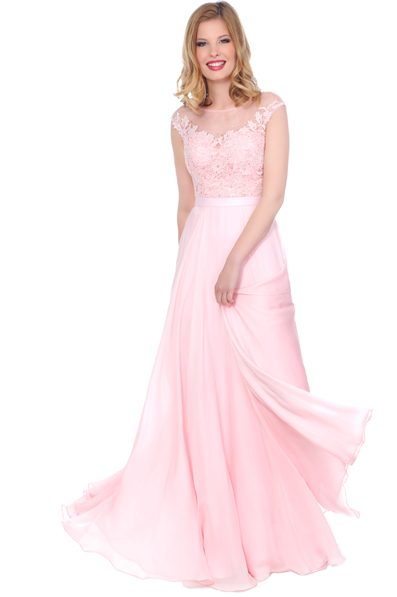 US$163.99 2016 Appliques Scoop Chiffon Pink Floor Length Ruched A-line Sleeveless