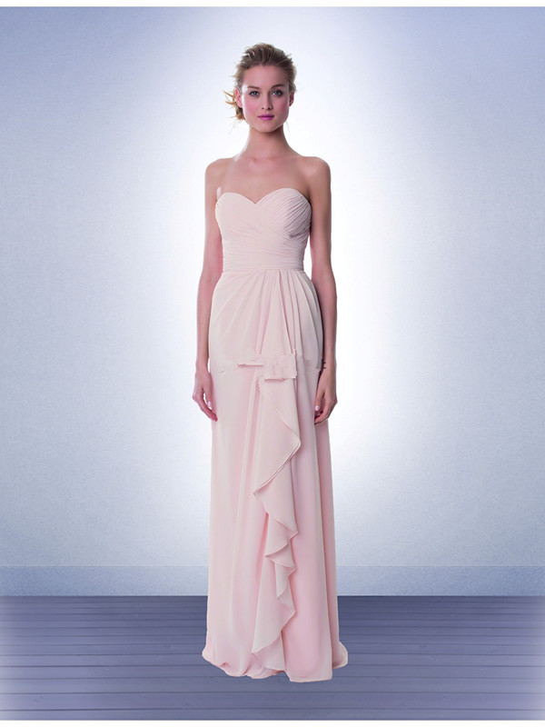 US$132.99 2015 Chiffon Ruched Pink Sleeveless Sweetheart Floor Length