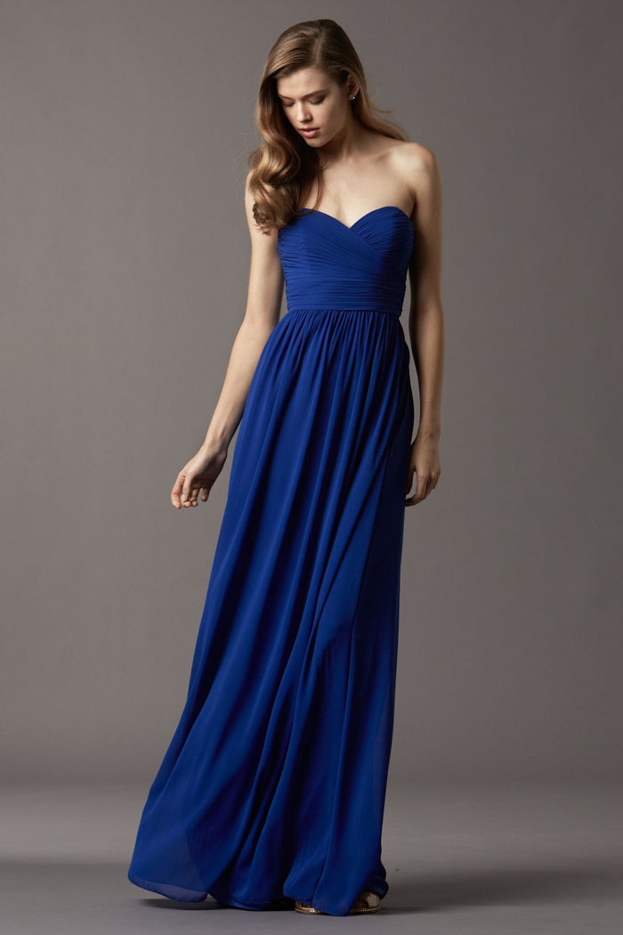 US$131.99 Chiffon Ruched Sweetheart Blue Floor Length Sleeveless