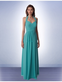 US$137.99 2015 Floor Length Halter Chiffon Ruched Blue Sleeveless