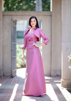US$160.99 2015 Flowers Pink Satin Ruched Strapless Jacket Sleeveless Floor Length