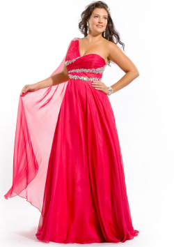 US$159.99 2015 Fuchsia One Shoulder Blue Floor Length Zipper Crystals Chiffon Sleeveless