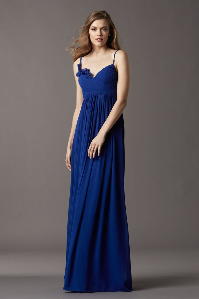 US$139.99 Royal Blue Floor Length Spaghetti Straps Sleeveless Chiffon Ruched