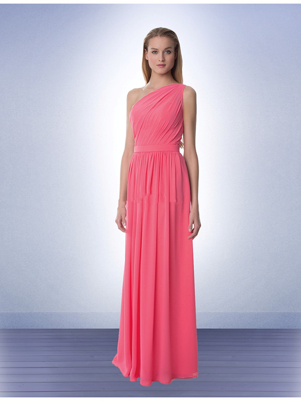 US$134.99 2015 Ruched Sleeveless Pink One Shoulder Floor Length Chiffon