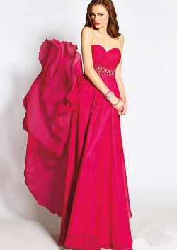 US$163.99 2015 Sleeveless Zipper Sweetheart Crystals Chiffon Floor Length