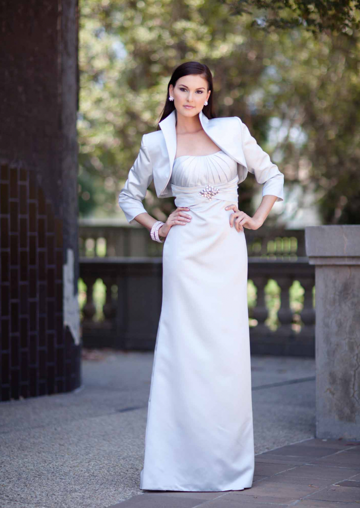 US$158.99 2015 Strapless Satin Ruched Sleeveless Jacket Floor Length A-line