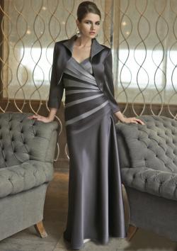 US$157.99 2015 Straps Sleeveless Satin Ruched Jacket Grey Floor Length
