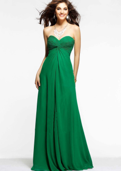 US$136.99 2015 Sweetheart Open Back Ruched Chiffon Floor Length Green