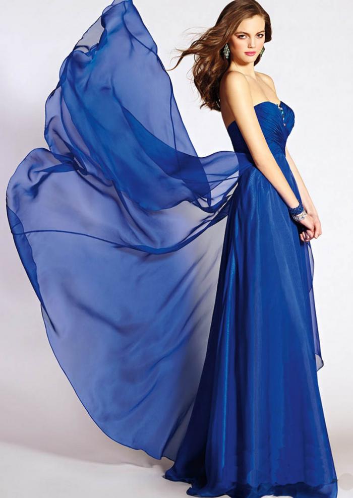 US$163.99 2015 Zipper Crystals Chiffon Blue Sleeveless Sweetheart Floor Length