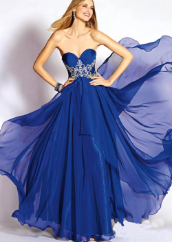 US$163.99 2015 Zipper Crystals Chiffon Sleeveless Sweetheart Blue Floor Length