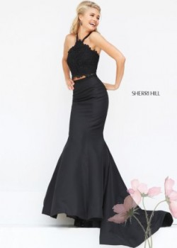 Black Flirty Beaded Lace Halter Top Special Occasion Dress [Sherri Hill 50419 black] – $23 ...