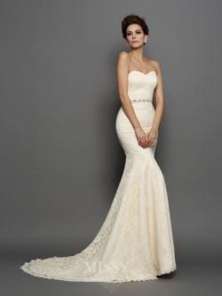 Sereia Sem Mangas Coração Cetim Cauda Longa Laço Vestido de Casamento