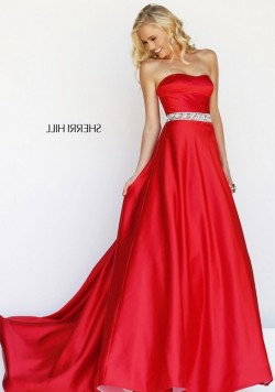 Sexy Red Satin Beaded Waist Cheap Sherri Hill 21276 Strapless Dresses Sale [Sherri Hill 21276 Re ...