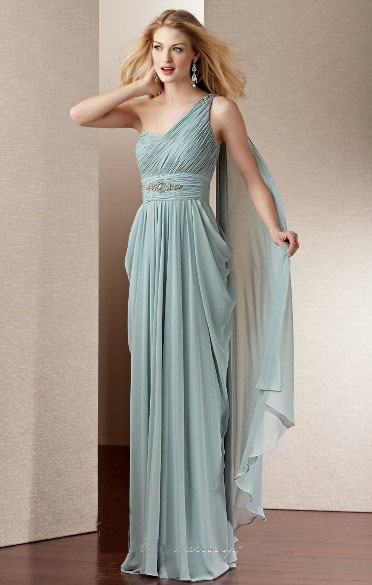 US$150.99 2015 One Shoulder Floor Length Sleeveless Chiffon Ruched