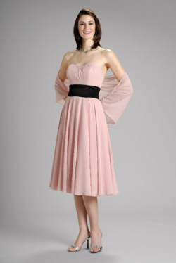 US$155.99 2015 Pink Ribbon Strapless Chiffon Shawl Sleeveless Knee Length