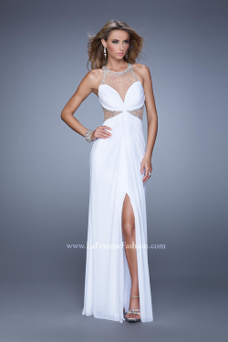US$158.99 2015 Ruched Halter Salmon White Beading Split Front Tulle Chiffon Sleeveless