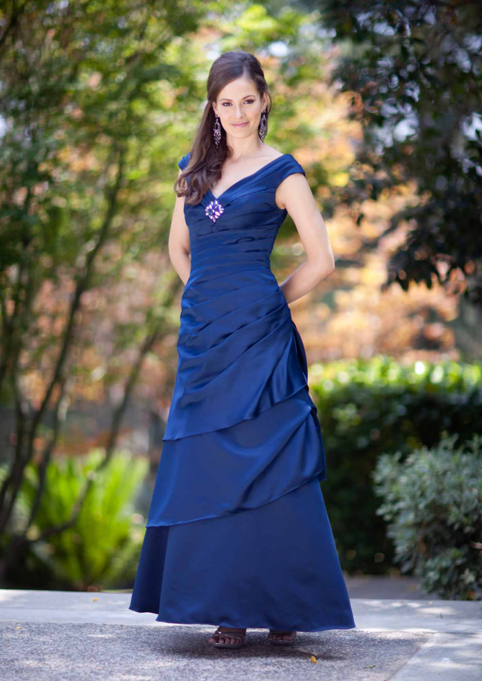 US$166.99 2015 Sleeveless Taffeta V-neck Ruched Blue Floor Length