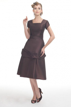 US$147.99 2015 Square Buttons Knee Length Brown Short Sleeves Taffeta