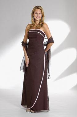 US$164.99 2015 Strapless Chiffon Shawl Ruched Brown Sleeveless Floor Length