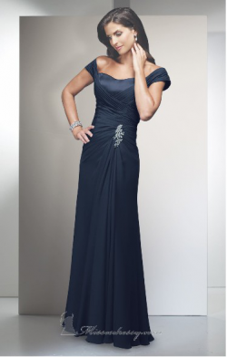 US$158.99 2015 Strapless Zipper Chiffon Cap Sleeves Floor Length Navy