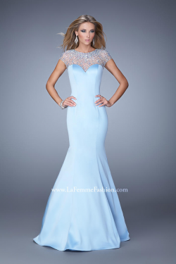 US$177.99 2015 Straps Blue Short Sleeves Beading Zipper Ruched Satin Tulle Floor Length Mermaid