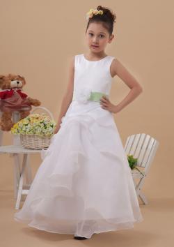US$92.99 2015 Tulle Zipper Flower Ribbon Sleeveless White Ruched Straps Floor Length