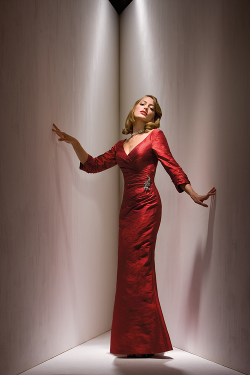US$165.99 2015 V-back 3/4 length Sleeves V-neck Satin Red Ruched Floor Length Sheath