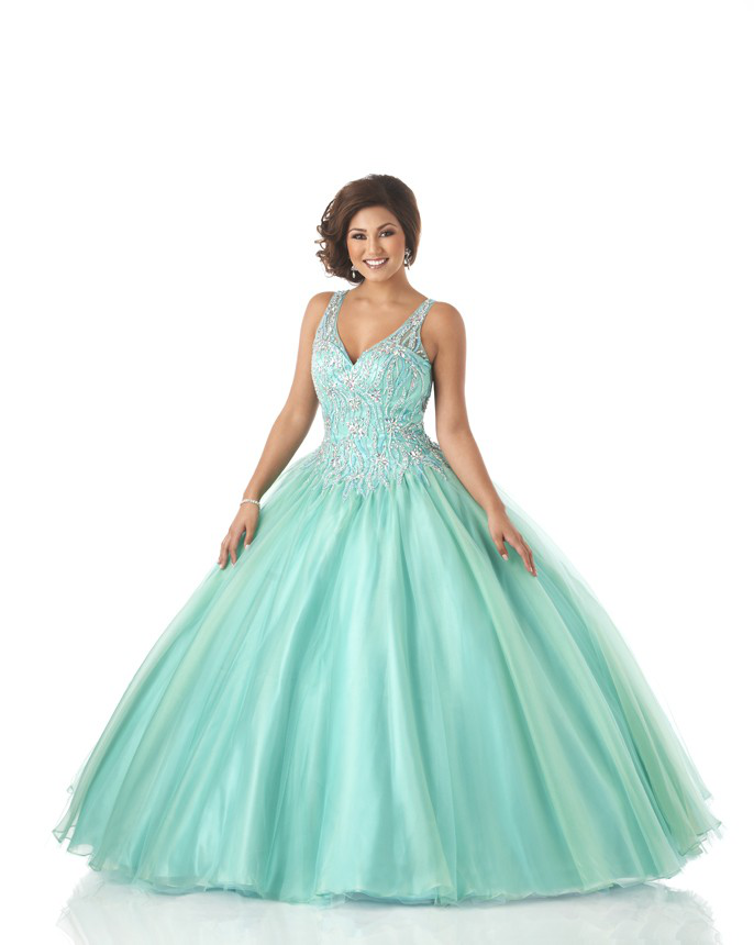 US$223.99 2015 V-neck Ruched Crystals Blue Open Back Lace Up Tulle Sleeveless Floor Length