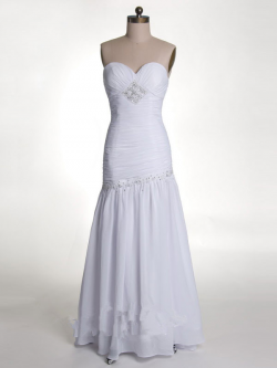 US$171.99 2015 Zipper Chiffon White Sleeveless Sweetheart Sheath Floor Length