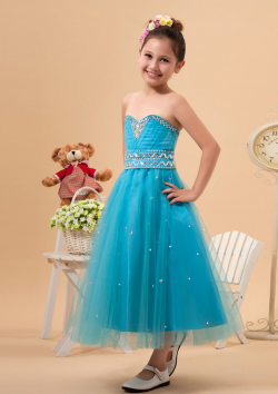 US$106.99 2015 Zipper Sweetheart Crystals Tulle Blue Sleeveless Ruched Tea Length