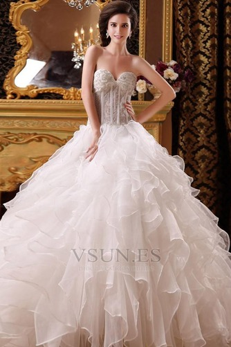 Vestido de novia princesa Corpiño Acentuado con Perla Hasta el suelo Pomposo – vsun.es