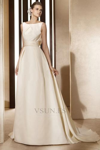 Vestido de novia vintage Diosa Barco Sin mangas Otoño Marfil – vsun.es