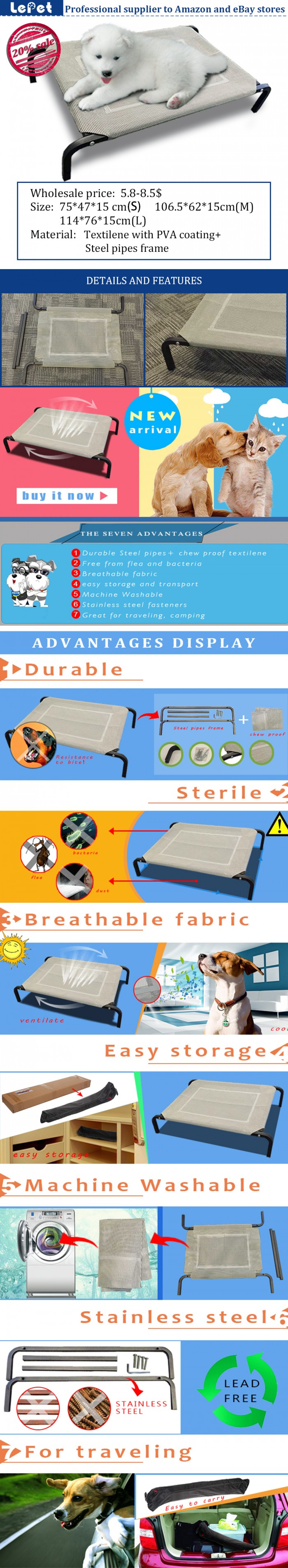 Elevated Orthopedic WaterProof Dog bed Camping Cot Manufacturer wholesale