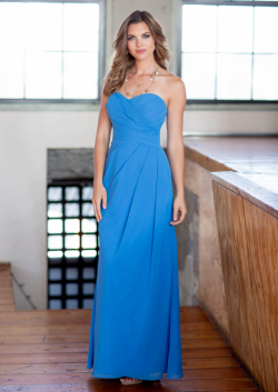 US$134.99 2015 Chiffon Sleeveless Ankle Length Ruched Blue Sweetheart