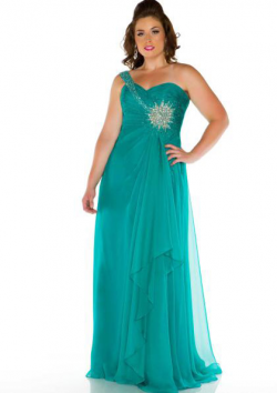 US$155.99 2015 Chiffon Teal Coral One Shoulder Zipper Crystals Sleeveless Sweep