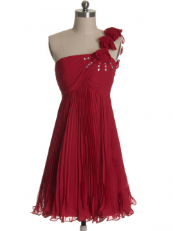 US$165.99 2015 One Shoulder Flowers Ruched Burgundy Chiffon Short Length